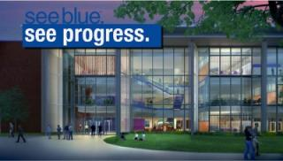 Artist's rendering of new Academic Science Building at night